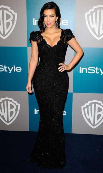 Kim Kardashian at the InStyle/Warner Bros party