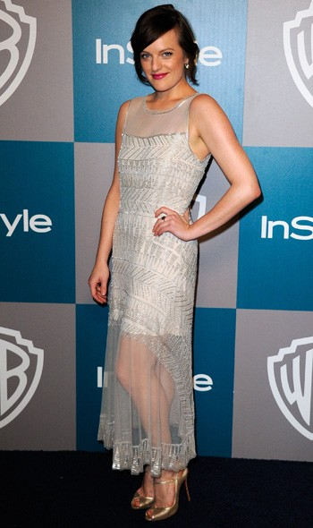 Elizabeth Moss at the InStyle/Warner Bros party
