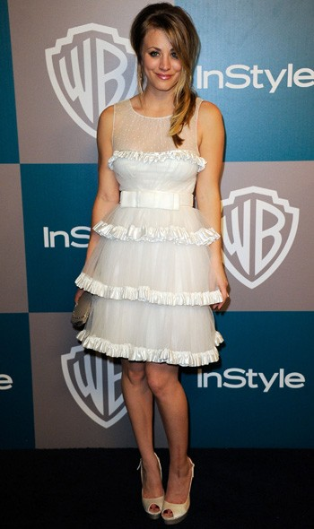 Kaley Cuoco at the InStyle/Warner Bros party