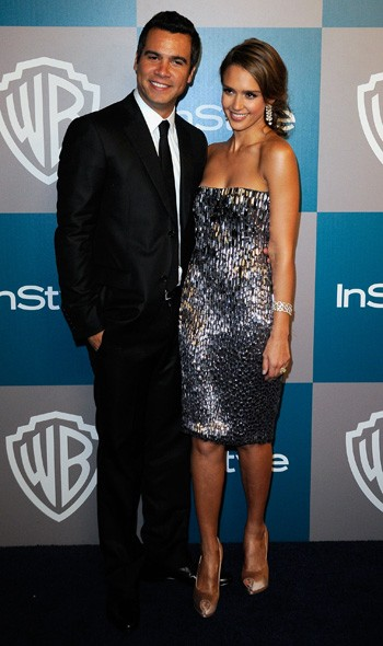 Cash Warren and Jessica Alba at the InStyle/Warner Bros party