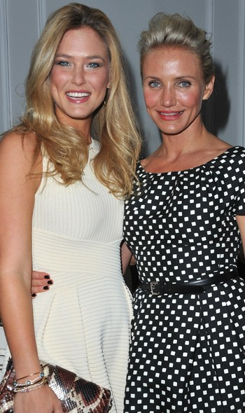 Bar Refaeli and Cameron Diaz at Dior Couture