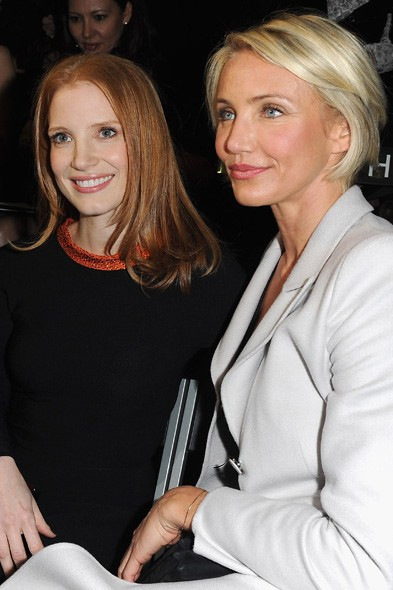 Jessica Chastain and Cameron Diaz at Armani Prive