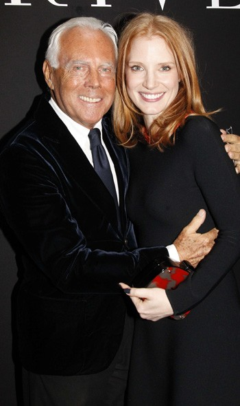 Giorgio Armani and Jessica Chastain at Armani Prive