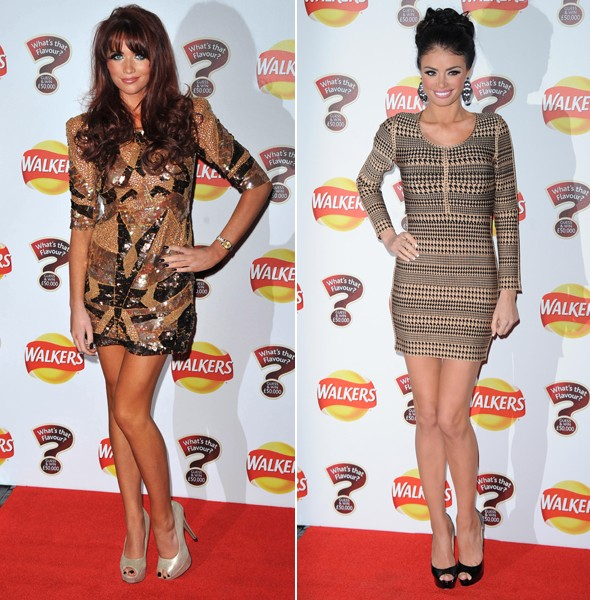 Amy Childs and Chloe Sims play 'who can wear the shortest dress' on the red carpet