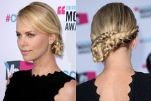 Get knotted: Charlize Theron's plaited updo