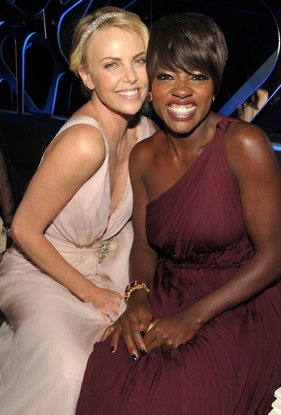 Charlize Theron and Viola Davis at the InStyle/Warner Bros party