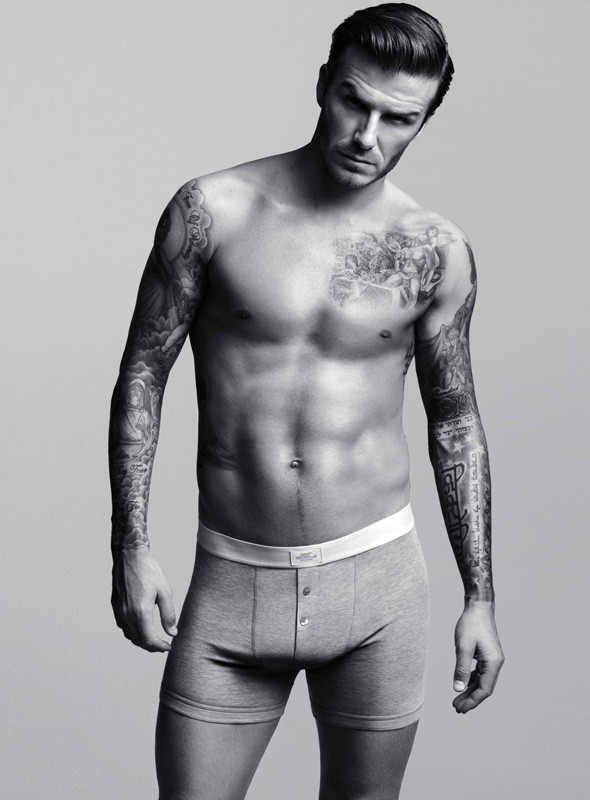 David Beckham models his bodywear collection for H&M