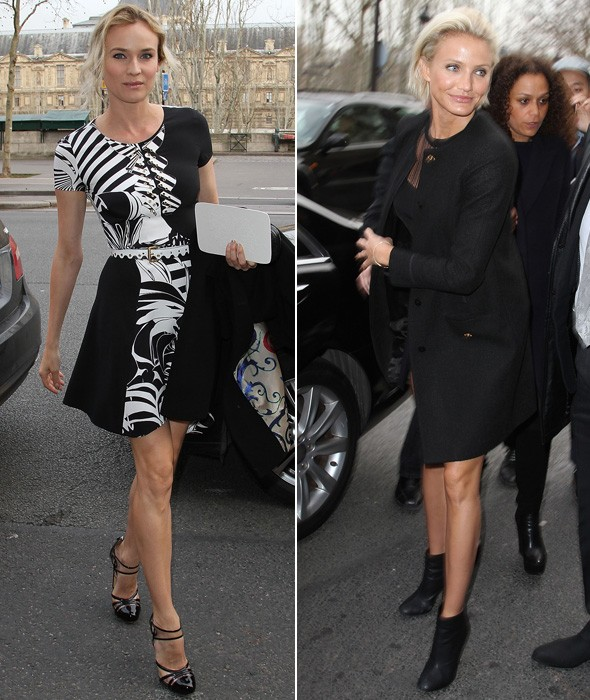 Diane Kruger and Cameron Diaz arriving at the Atelier Versace couture show in Paris