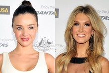 Miranda Kerr and Delta Goodrem show some leg at G'Day USA gala