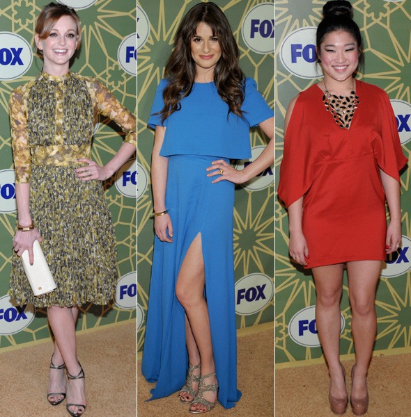 Jayma Mays, Lea Michele and Jenna Ushkowitz at the FOX TCA All Stars party