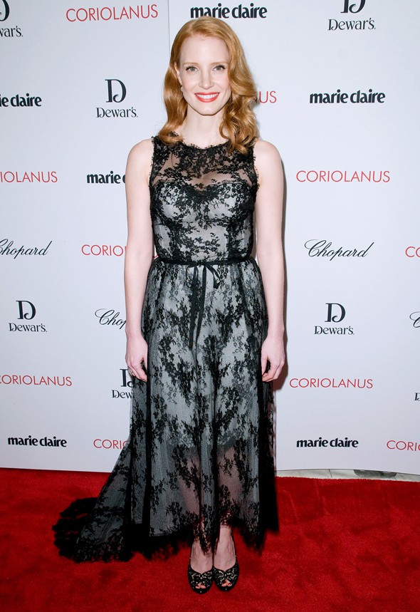 Hot or not: Jessica Chastain's lacy Coriolanus look
