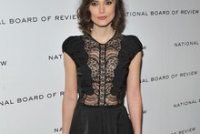 Keira Knightly shows some front in lace bodice Little Black Dress