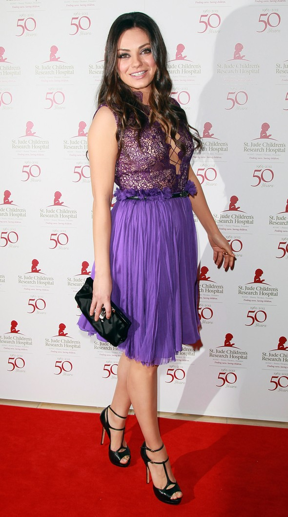 Hot or not: Mila Kunis in lacy purple for hospital benefit gala