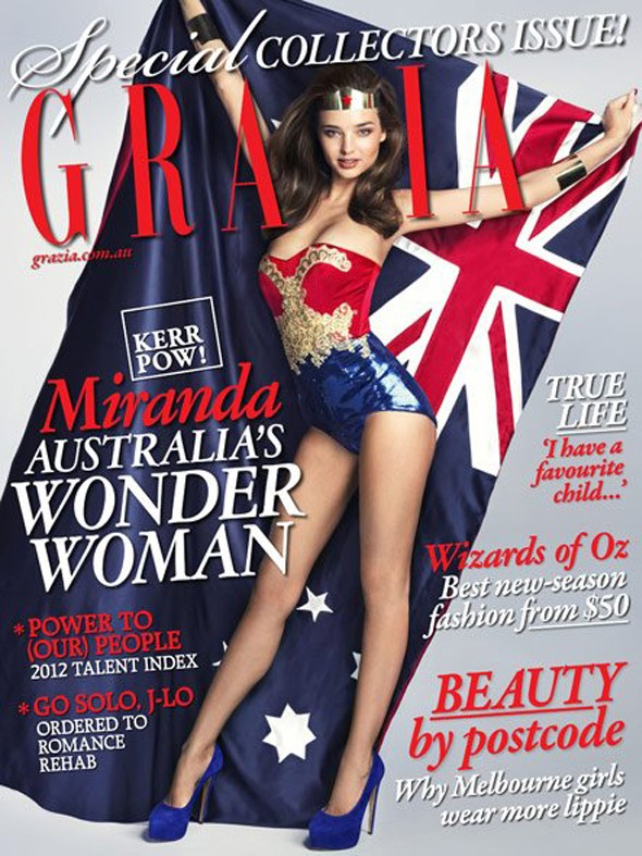 Miranda Kerr as Wonder Woman on the cover of Grazia Australia