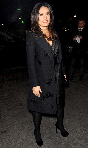 Salma Hayek arriving at Giambattista Valli