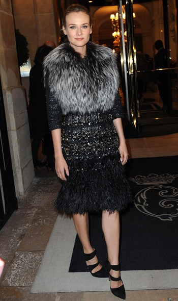 Diane Kruger arriving at Giambattista Valli