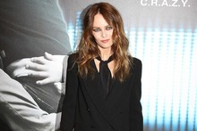Vanessa Paradis hits Paris premiere in red leather trousers - but no sign of Johnny