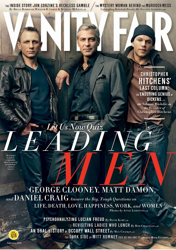 Daniel Craig, George Clooney and Matt Damon on the cover of Vanity Fair