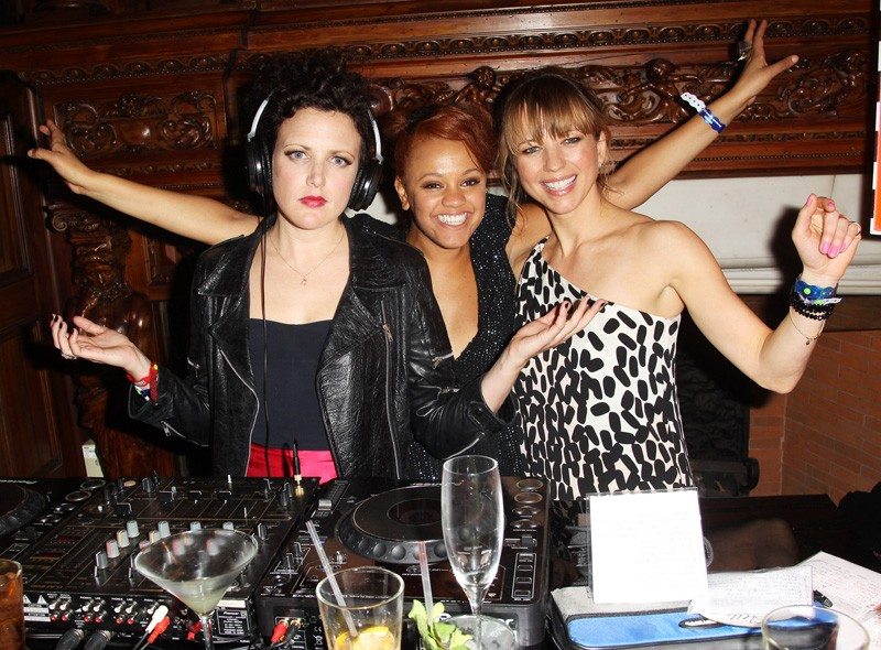 Annie Mac, Gemma Cairns and Sara Cox at the Warner Music party