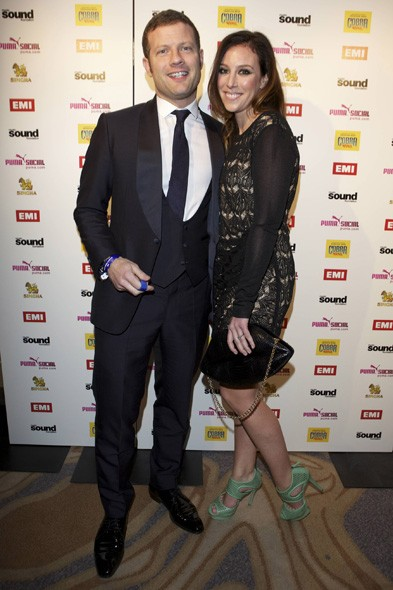Dermot O'Leary and Dee Koppang at the EMI party