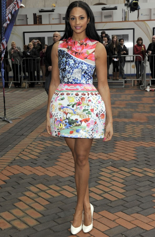 Alesha Dixon wearing Mary Katrantzou for Topshop at Britain's Got Talent auditions