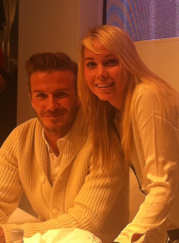 David Beckham launches H&M underwear collection in London. Girls gather.