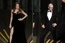 The Descendants writer mocks Angelina's leggy posing onstage at the Oscars