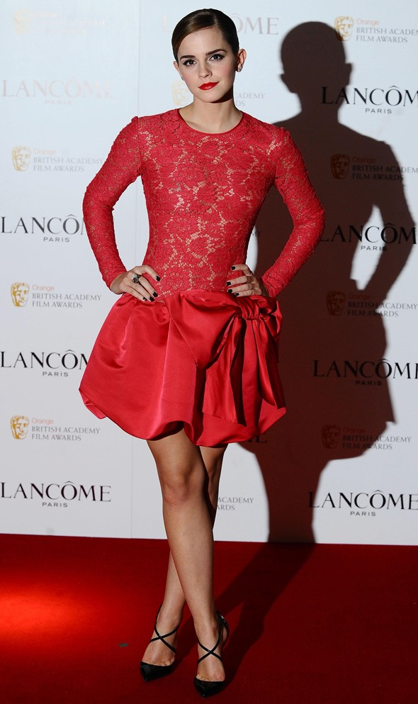 Red hot: Emma Watson in Valentino