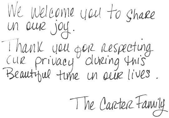 A note from the Carter family.