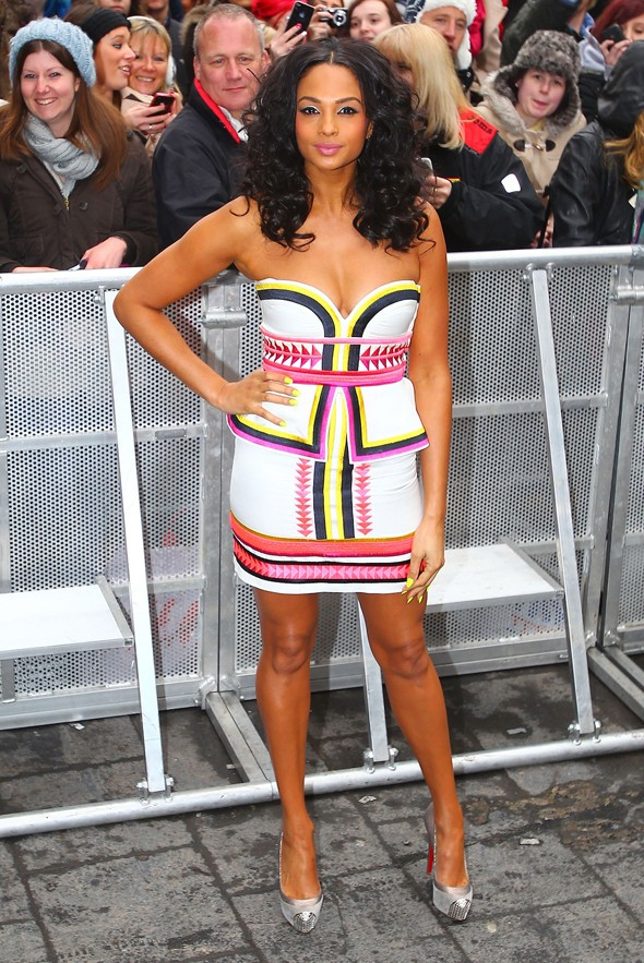 Alesha Dixon weathers the chill in neon minidress for BGT
