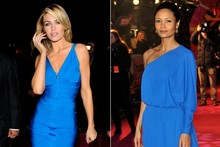 Battle in blue: Thandie Newton and Abbey Clancy both go electric