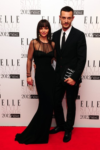 Christina Ricci with Jonathan Saunders wearing one of his designs