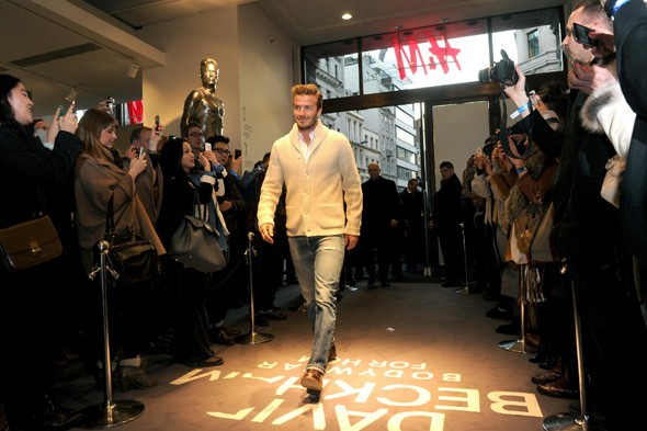David Beckham at the H&M underwear launch on Regent's Street