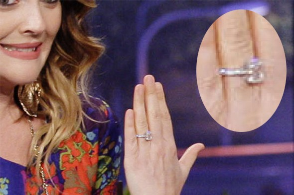 Drew Barrymore gives us a good look at her engagement ring