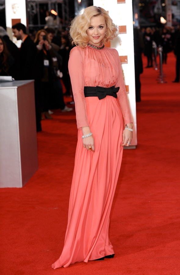 Fearne Cotton kicks off Baftas 2012 style in coral Moschino