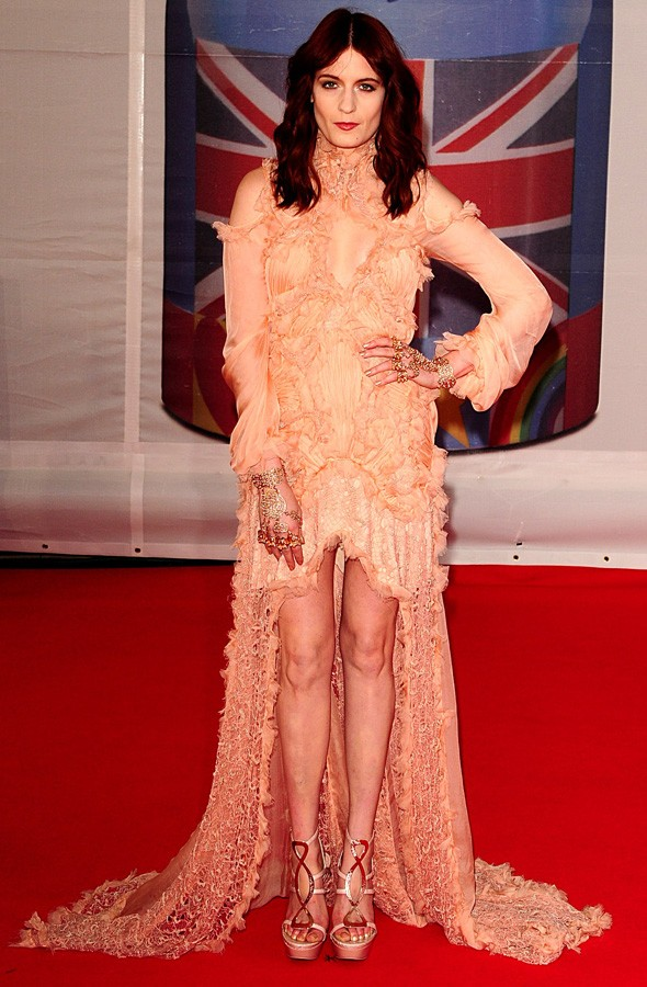 Florence Welch arriving at the Brit Awards in custom Alexander McQueen