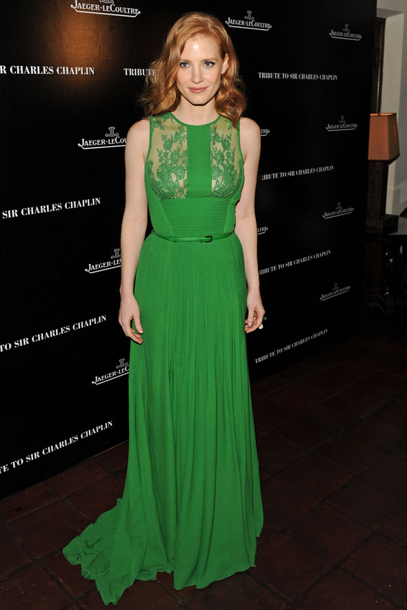 Spring greens: Jessica Chastain and Rose McGowan