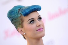 Katy Perry returns to her Smurfette days with all-blue LA look