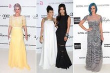 Kelly, Kourtney, Kim and Katy party with Elton John at the Oscars 2012