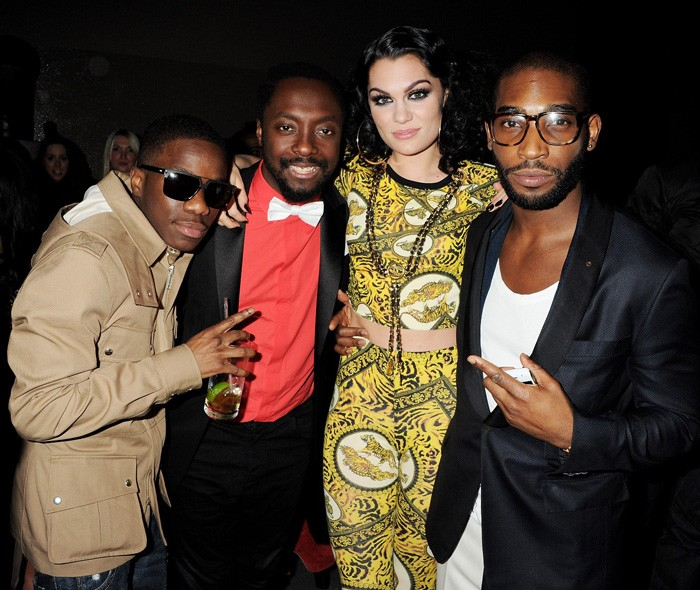 Tinchy Stryder, Will.I.Am, Jessie J and Tinie Tempah at the Universal party