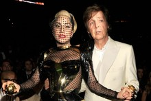 Lady Gaga wears head-to-toe fishnet to Grammys 2012