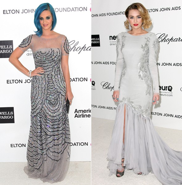 Grey matter: Miley Cyrus and Katy Perry attend Elton's Oscars party