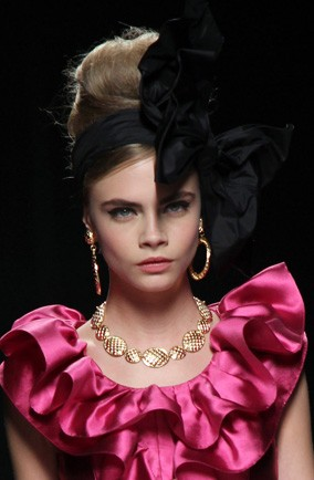 Cara Delevigne on the Moschino Autumn/Winter 2012 catwalk