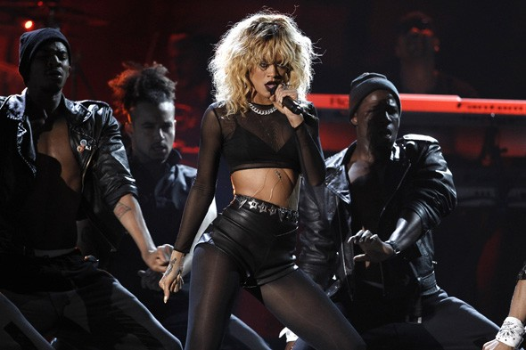 Rihanna performing during the 2012 Grammys