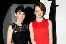 Rooney Mara and Emma Stone swap style notes on the Calvin Klein front row