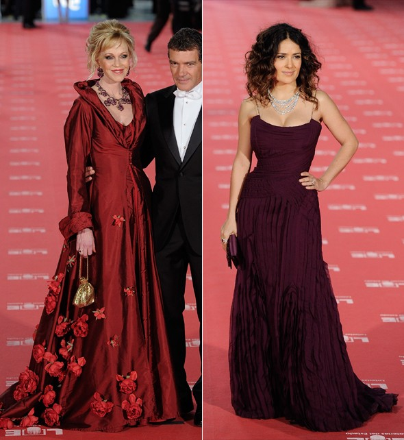 Salma Hayek and Melanie Griffith see red at Goya Awards