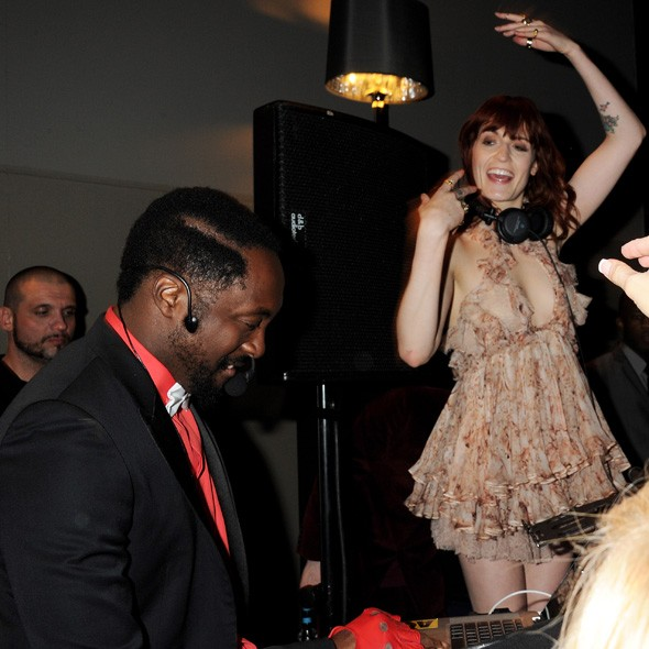 Will.I.Am and Florence Welch DJing at the Universal party