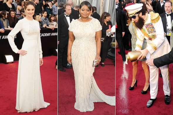 The white choice: Palest pale is the colour trend at the Oscars 2012