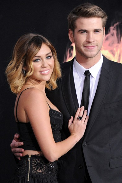 Miley Cyrus and Liam Hemsworth at the LA premiere