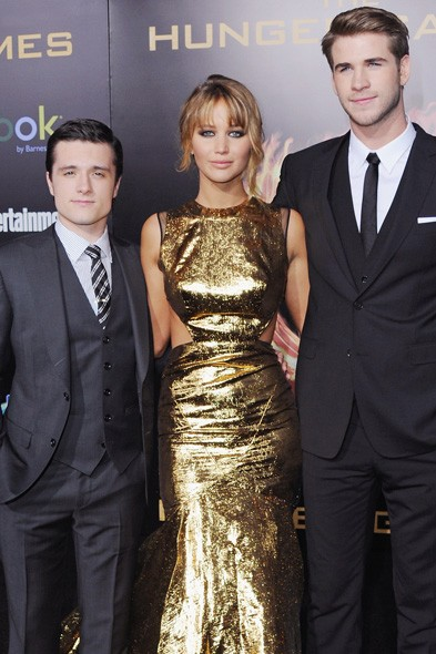 Josh Hutcherson, Jennifer Lawrence and Liam Hemsworth at the LA premiere
